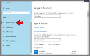Click Apps & Features; Source: alphr.com