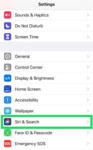 Tap Siri & Search; Source: alphr.com