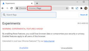 """Type """"chrome://flags"""" in the address bar; Source: alphr.com"""