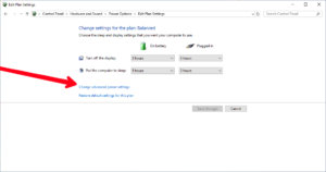 Select Change Advanced Plan Settings; Photo by About Device